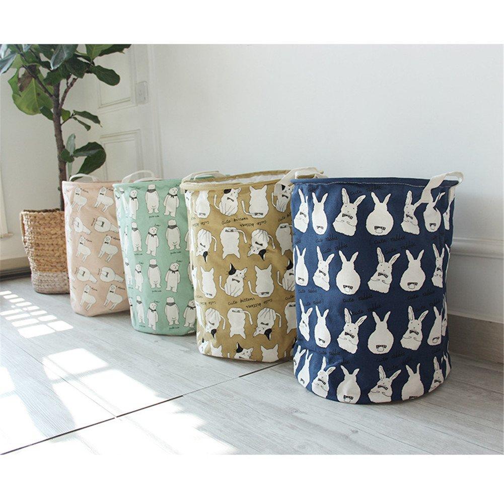Yiliag Animals Cartoon Laundry Hamper Linen Cotton Laundry Basket Toy Clothes Laundry Bin-Blue/Rabbit by Yiliag (Image #2)