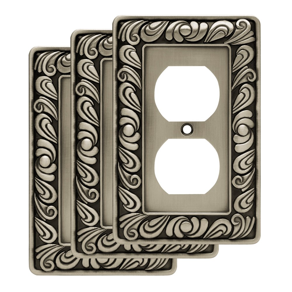Franklin Brass W10110V-BSP-R Paisley single Duplex Outlet Wall Plate / Switch Plate / Cover, Brushed Satin Pewter, 3 Pack,