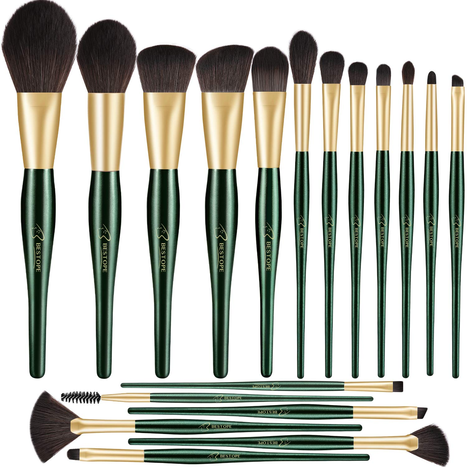 BESTOPE 18 PCs Makeup Brushes, Belly-type Handle Professional Premium Synthetic Cosmetic Brushes for Blending Foundation Powder Blush Concealers Highlighter Eye Shadows Brushes Kit