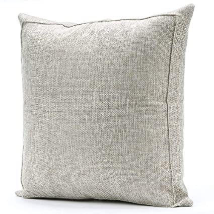 Jepeak Burlap Linen Throw Pillow Cover Cushion Case, Farmhouse Modern Decorative Solid Square Pillow Case, Thickened Luxury for Sofa Couch Bed (22 x ...