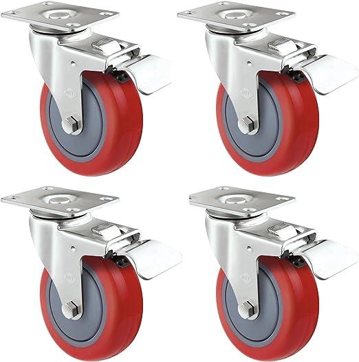 4 Heavy Duty Swivel With Brake Caster 600Lb Capacity Polyurethane