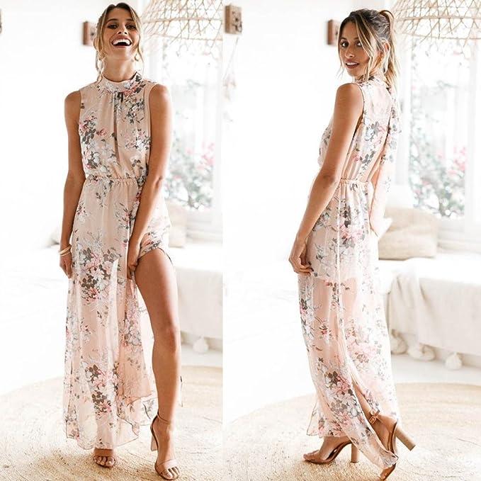 ❤DoraMe❤ Vestido largo sin mangas de la gasa de las mujeres Casual impresas floral de Boho Beach Dress (Rosado, L): Amazon.es: Iluminación