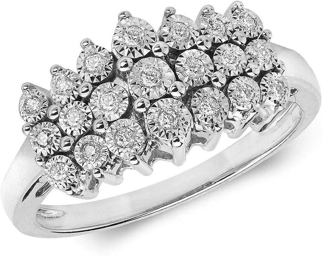 Juego de 3 filas de anillo de oro blanco con diamante