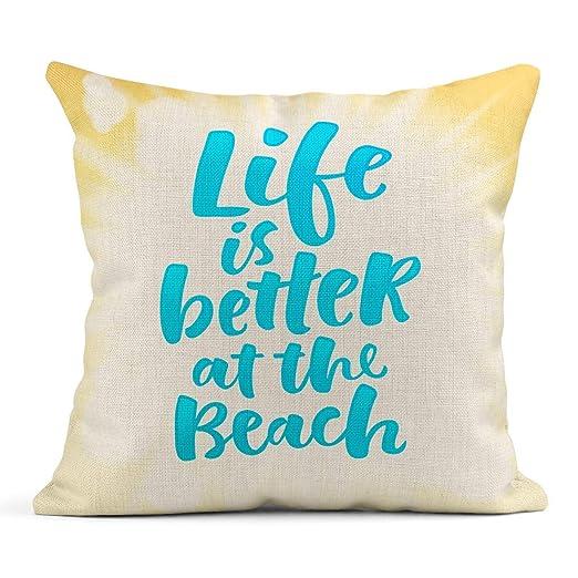 Kinhevao Cojín La Vida caligráfica es Mejor en la Playa ...