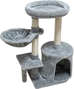 KIYUMI Cat Tree Cat Tower Sisal Scratching Posts Cat Condo Play House Hammock Jump Platform Cat Furniture Activity Center
