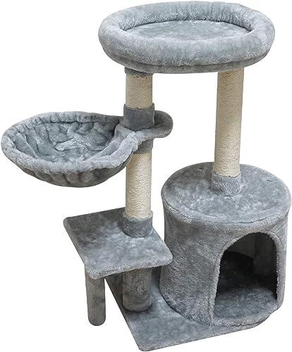 KIYUMI Cat Tree Cat Tower Sisal Scratching Posts Cat Condo Play House Hammock Jump Platform Cat Furniture Activity Center,Grey