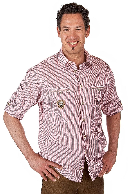 Orbis Textil H081 rot - Trachtenhemd mit Krempelarm