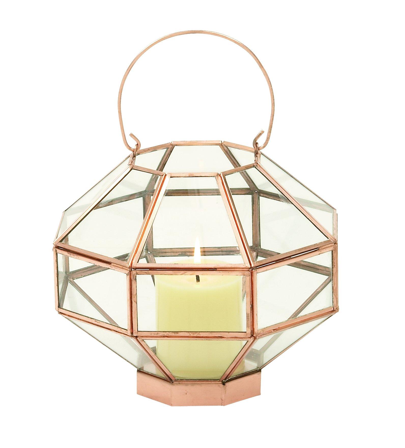Metal Glass Mirror Cpr Lantern 9''W, 12''H - 37156 by Deco 79 (Image #1)