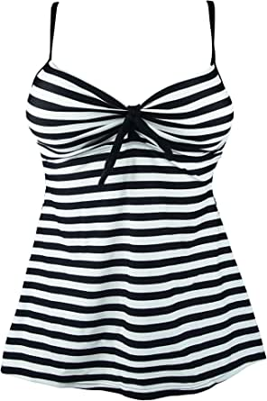 COCOSHIP Black & White Striped Vintage Inspired Swim Top