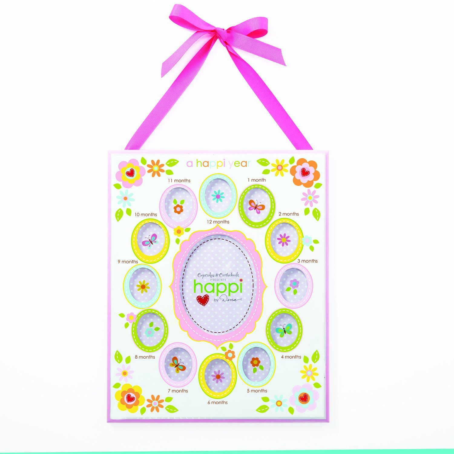 Two's Company Happi Baby's First Year Sectional Photo Frame Pink