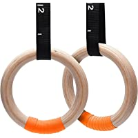 AUSELECT Wooden Gymnastic Rings 28mm for Sports, Crossfit, Gym Exercise Fitness, Home Gym