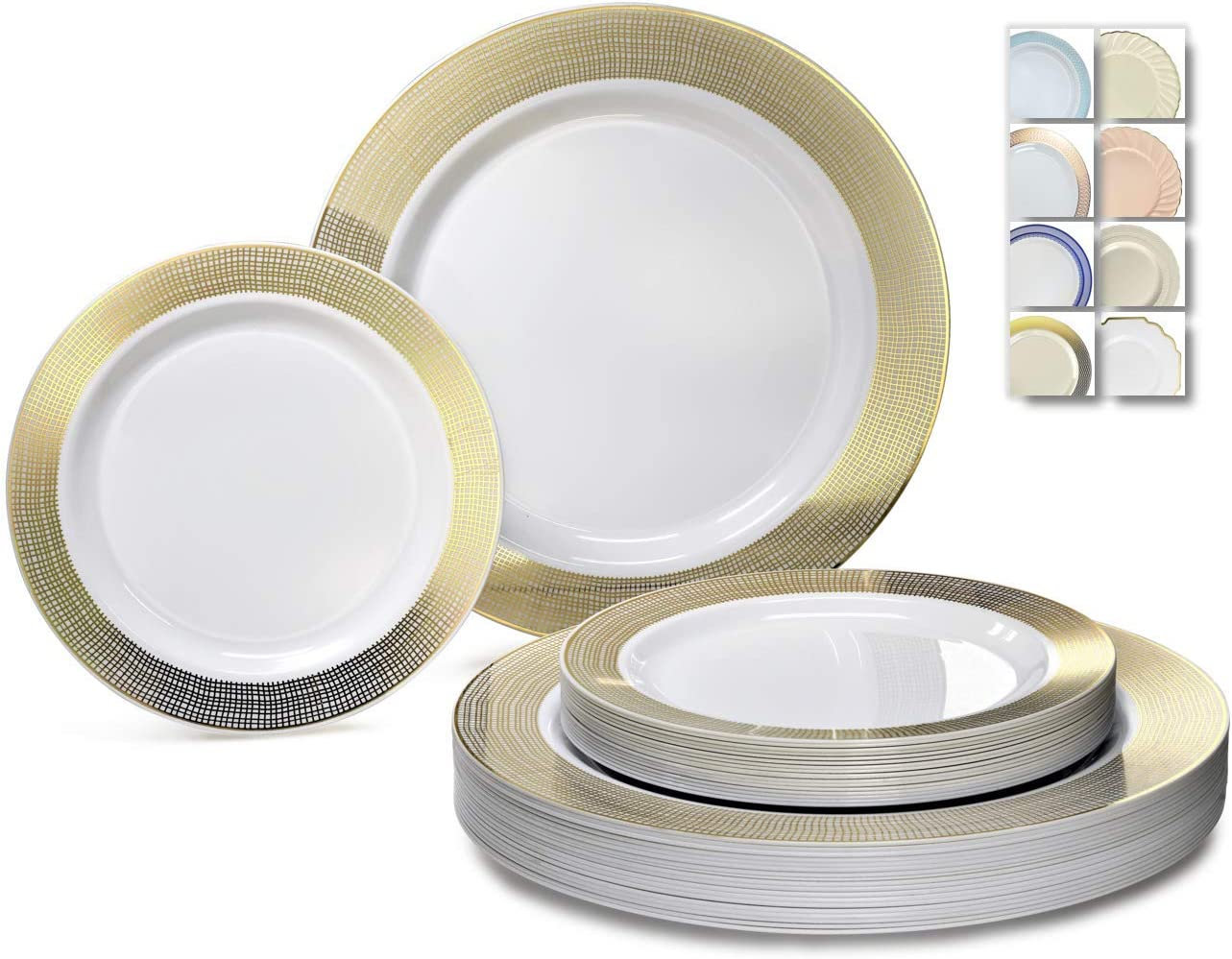 OCCASIONS 240 Plates Pack,(120 Guests) Heavyweight Premium Disposable Plastic Plates Set -120 x 10.5'' Dinner + 120 x 7.5'' Salad/Dessert (Linen White/Gold) 715MzFW3zUL