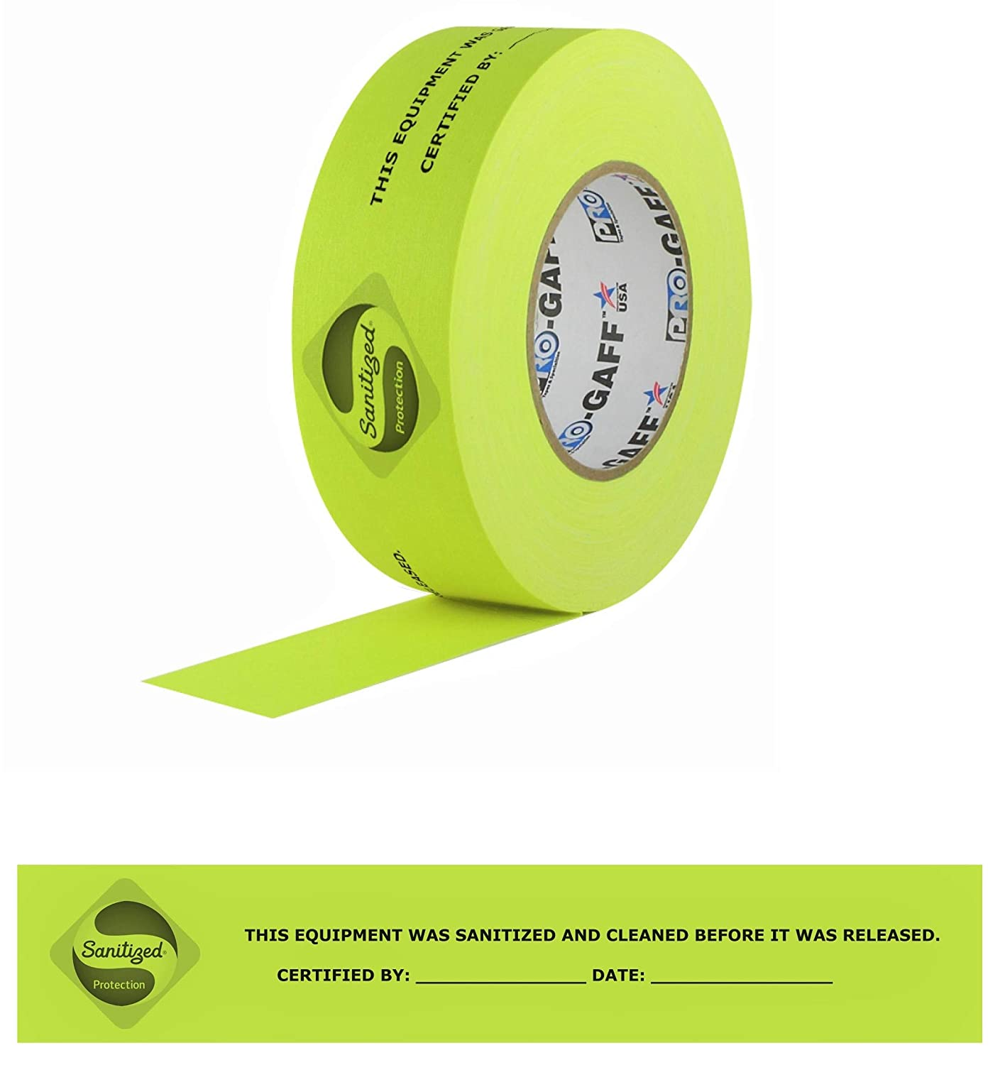 "Sanitized Sticker Safety Label Protection Tape, Warning, Certified, for Hospital, Office, Municipality, Government, Business, Equipment, Coronavirus, Covid-19, Florescent Yellow, 2"" x 25Yd. Roll, USA"