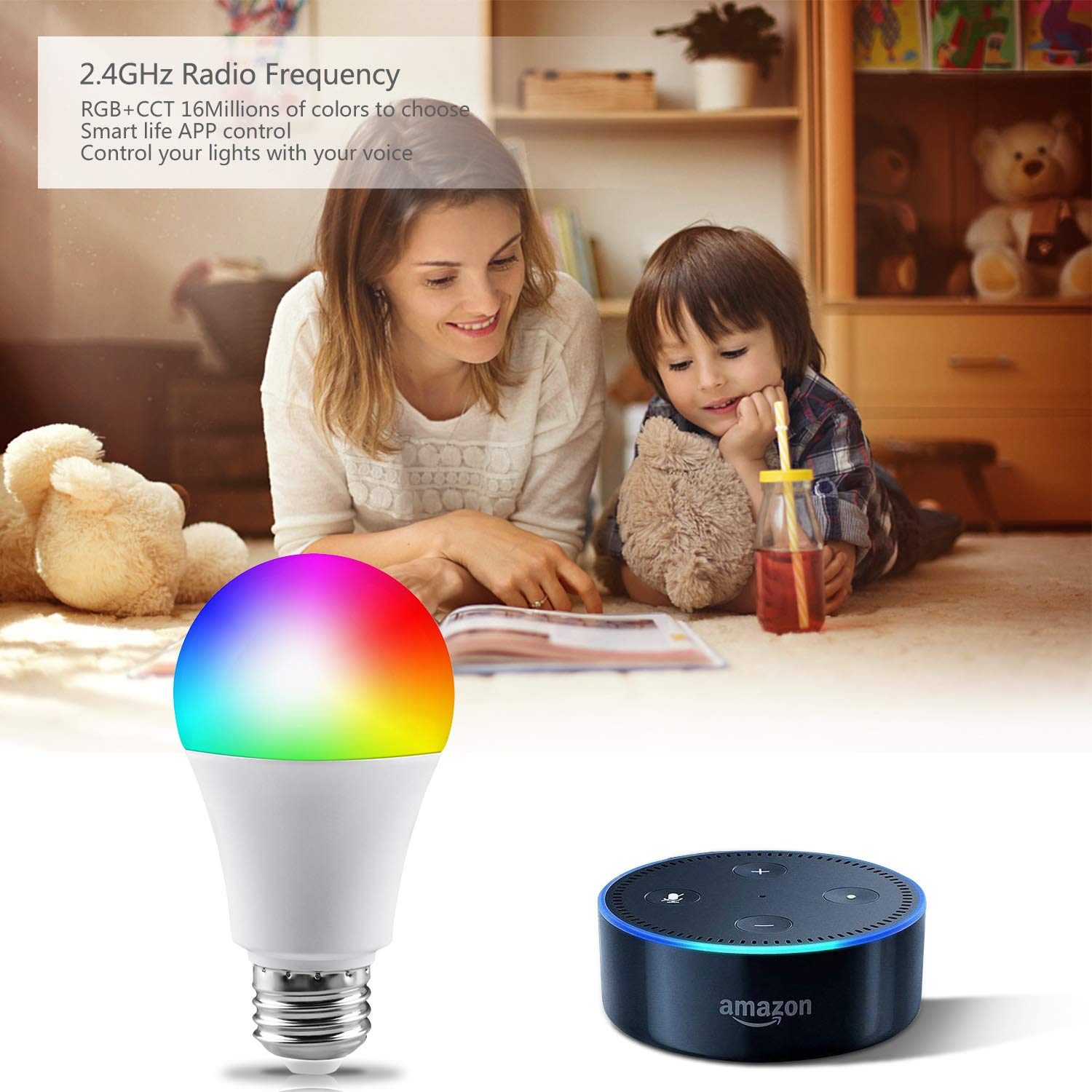 Smart Light Bulb, WiFi Smart Led Bulbs Dimmable Multicolored RGB, No Hub Required, Works with Amazon Echo Alexa and Google Home (7W 600LM) (1 Pack)