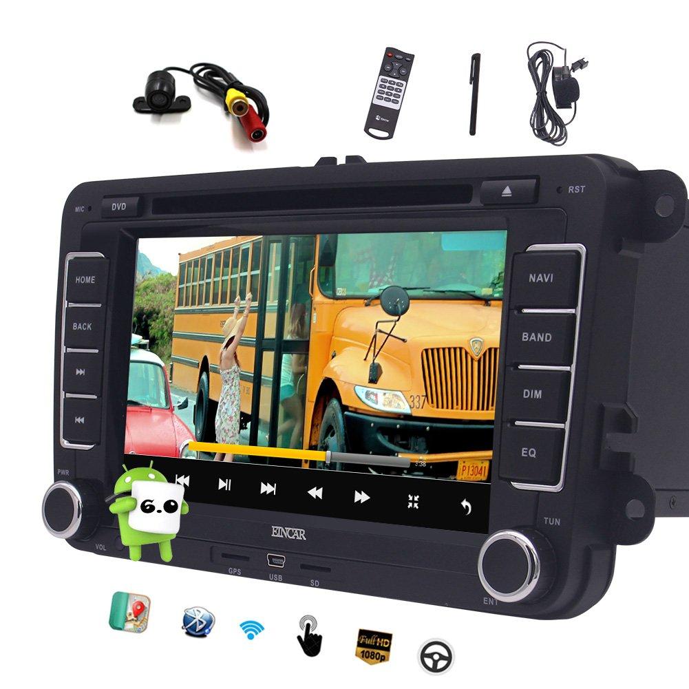 ダブルディンEinCarアンドロイドVW PASSATゴルフクアッドコア7「ダッシュブルートゥース無線LANヘッドユニット車のラジオレシーバ無料CANBUS&リアカメラに」タッチスクリーンカーステレオGPSナビゲーションのための6.0カーDVDプレーヤー B074PQV4QS