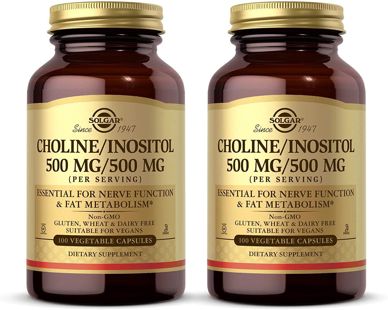 Solgar Choline/Inositol 500 mg/500 mg, 100 Vegetable Capsules - Pack of 2 - Energy Metabolism, Liver Health, Brain & Nerve Function - Non-GMO, Vegan, Gluten Free, Dairy Free - 100 Total Servings