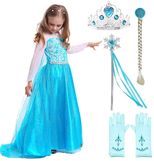25b28ac01721 Amazon.com  SweetNicole Snow Queen Elsa Princess Party Dress Costume with  Accessories  Clothing