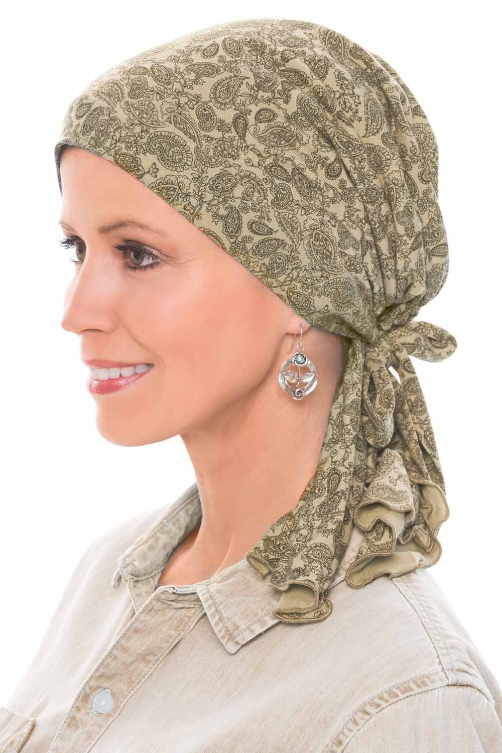 Cardani So Simple Scarf - Pre Tied Head Scarf for Women in Soft Bamboo - Cancer & Chemo Patients Luxury Bamboo - Paisley Mocha/Beige