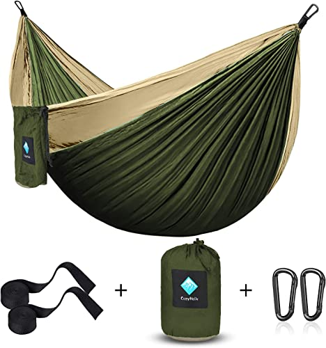Tormays 660lbs Camping Hammock, Double Portable Hammocks with 2 Tree Straps, Lightweight Nylon Parachute Hammocks for Backpacking, Travel, Beach, Backyard, Patio, Hiking Orange