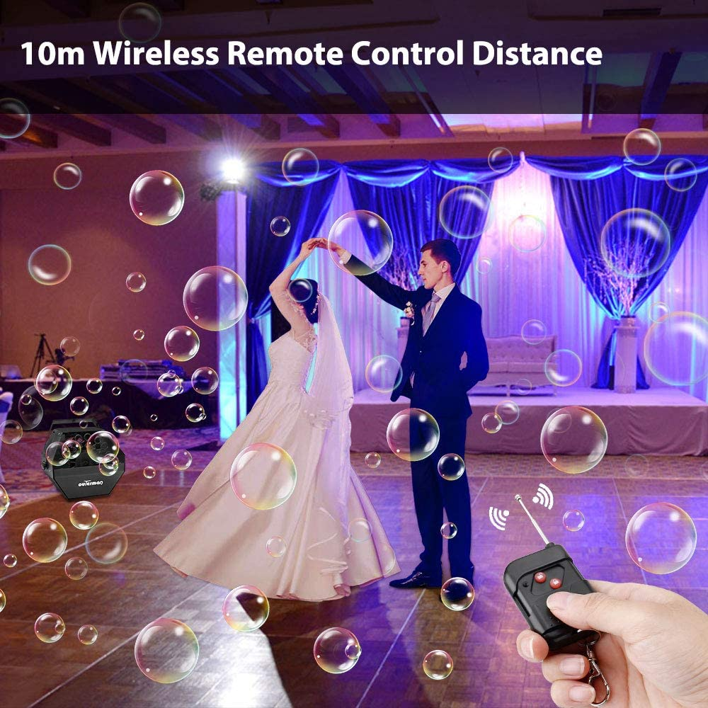 Festival Outerman Bubble Machine Wireless Remote Control Durable Metal Bubble Maker for Christmas Automatic Bubble Blower with Large High-Speed Fan and Portable Handle Stages Party Wedding