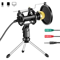 Neewer Professional Home Studio Condenser Microphone Plug and Play with Mini Desktop Mic Stand and Dual-Layer Pop Filter for iPhone Android Smartphone PC Computer for Sound Recording Podcasting