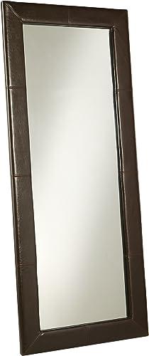 Abbyson Allure Brown Leather Floor Mirror