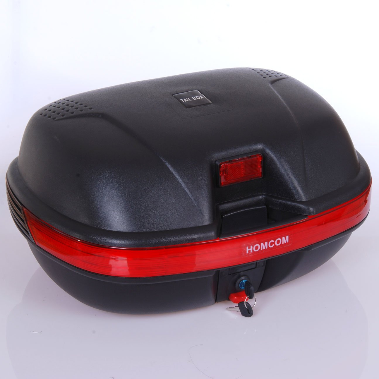 44L HOMCOM Detachable Scooter Motorcycle Trunk Top Case Lock Storage Luggage T Box Black