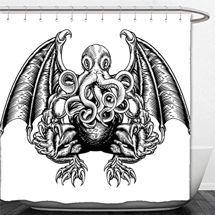 Interestlee Shower Curtain Kraken Decor Cthulhu Monster Evil Fictional Cosmic In Woodblock Style Illustration Black