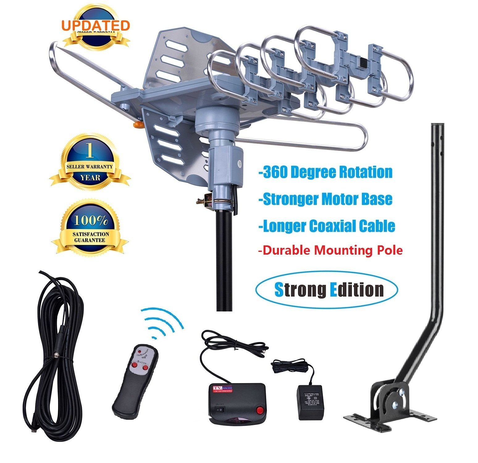 150 Miles Range-Amplified Digital Outdoor TV Antenna with Mount Pole-4K/1080p High Reception-40FT Coaxial Cable-360° Rotation Wireless Remote- Snap On Installation Support 2TVs