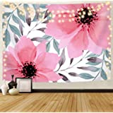 Plants Floral Tapestry Wall Hanging, Pink Flowers and Green Leaves on White Background Tapesties, 60 x 50