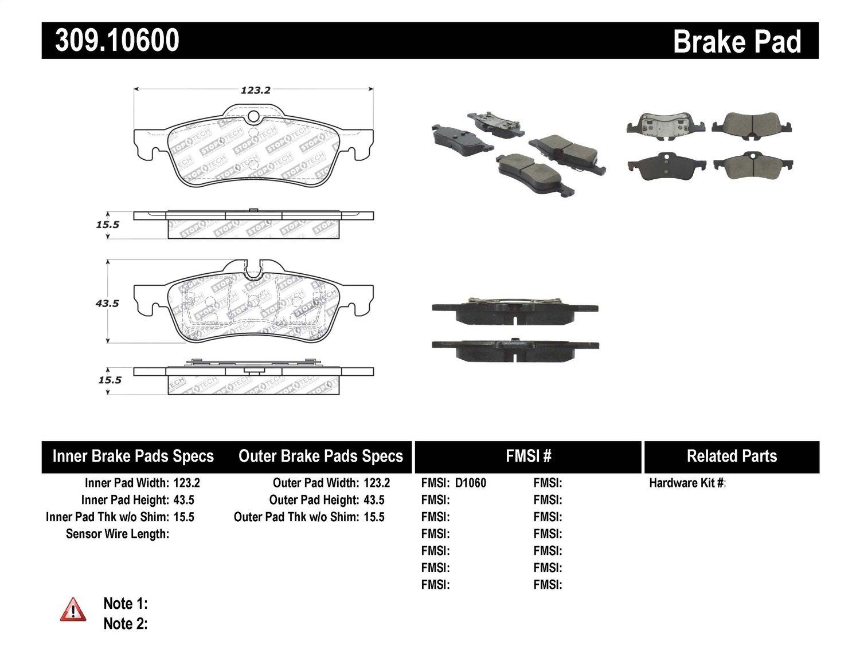 StopTech 309.10600 Street Performance Rear Brake Pad