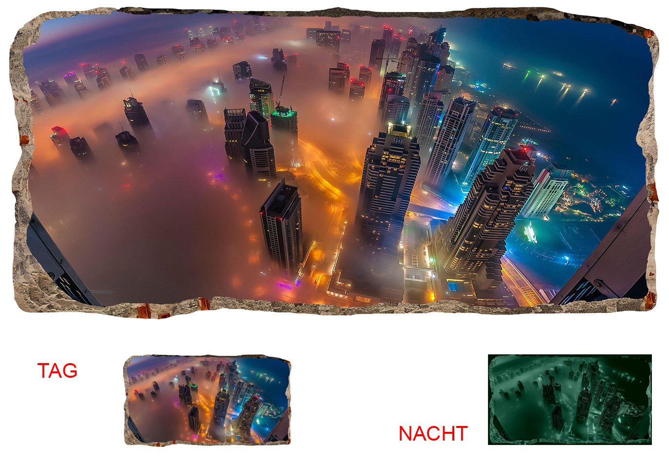 Startonight 3D Mural Wall Art Photo Decor Skyscrapers From Above Amazing Dual View Surprise Large Wall Mural Wallpaper for Living Room or Bedroom Urban Wall Art 120 x 220 cm
