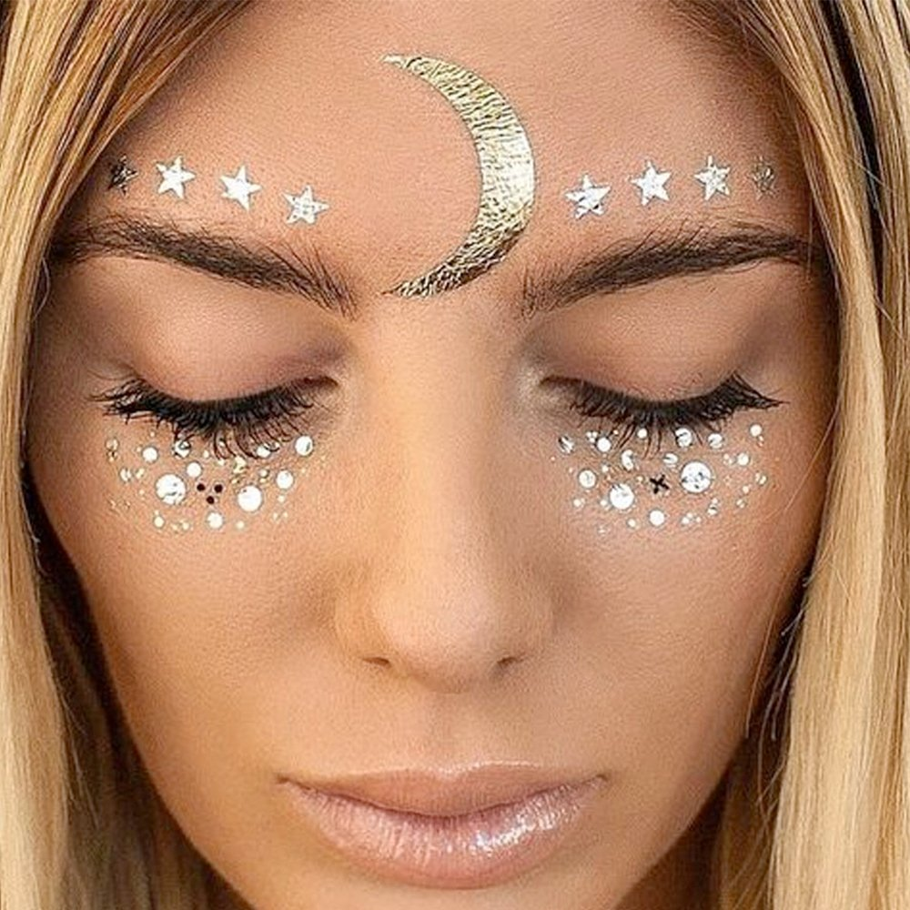 Hatcher lee Face Tattoo Sticker Metallic Shiny Temporary Water Transfer Tattoo for Professional Make Up Dancer Costume Parties, Shows Gold Glitter