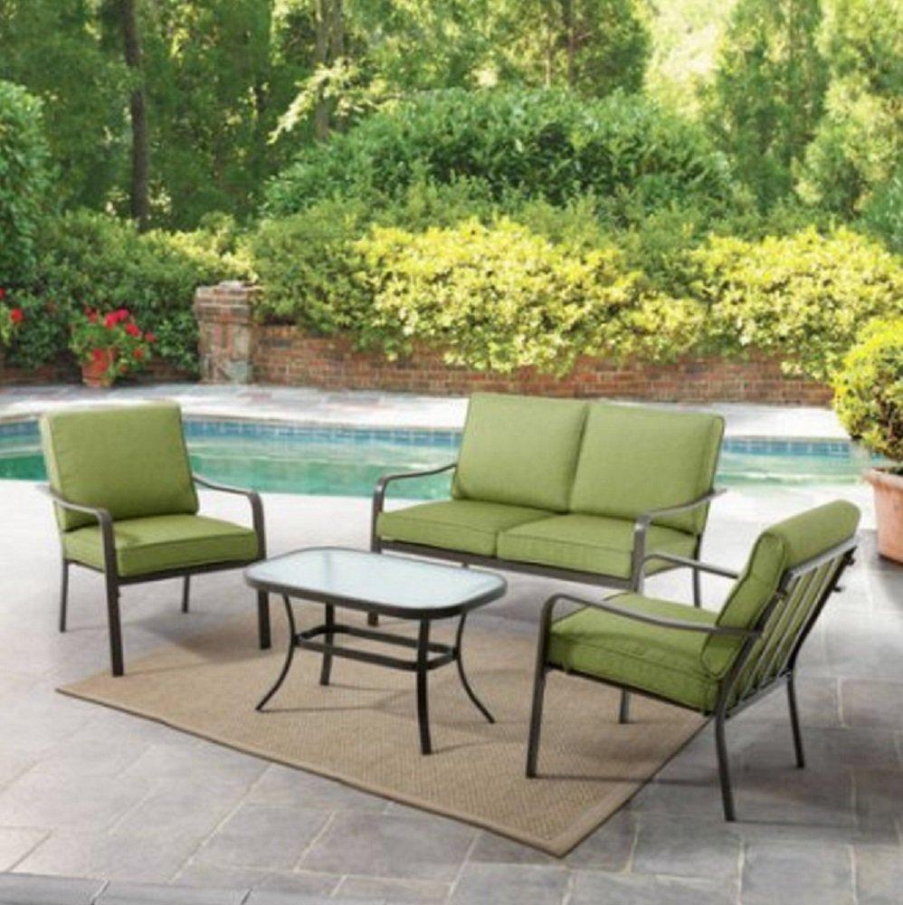 Amazon.com: Mainstays Stanton Cushioned 4 Piece Patio Conversation Set,  Green: Garden U0026 Outdoor