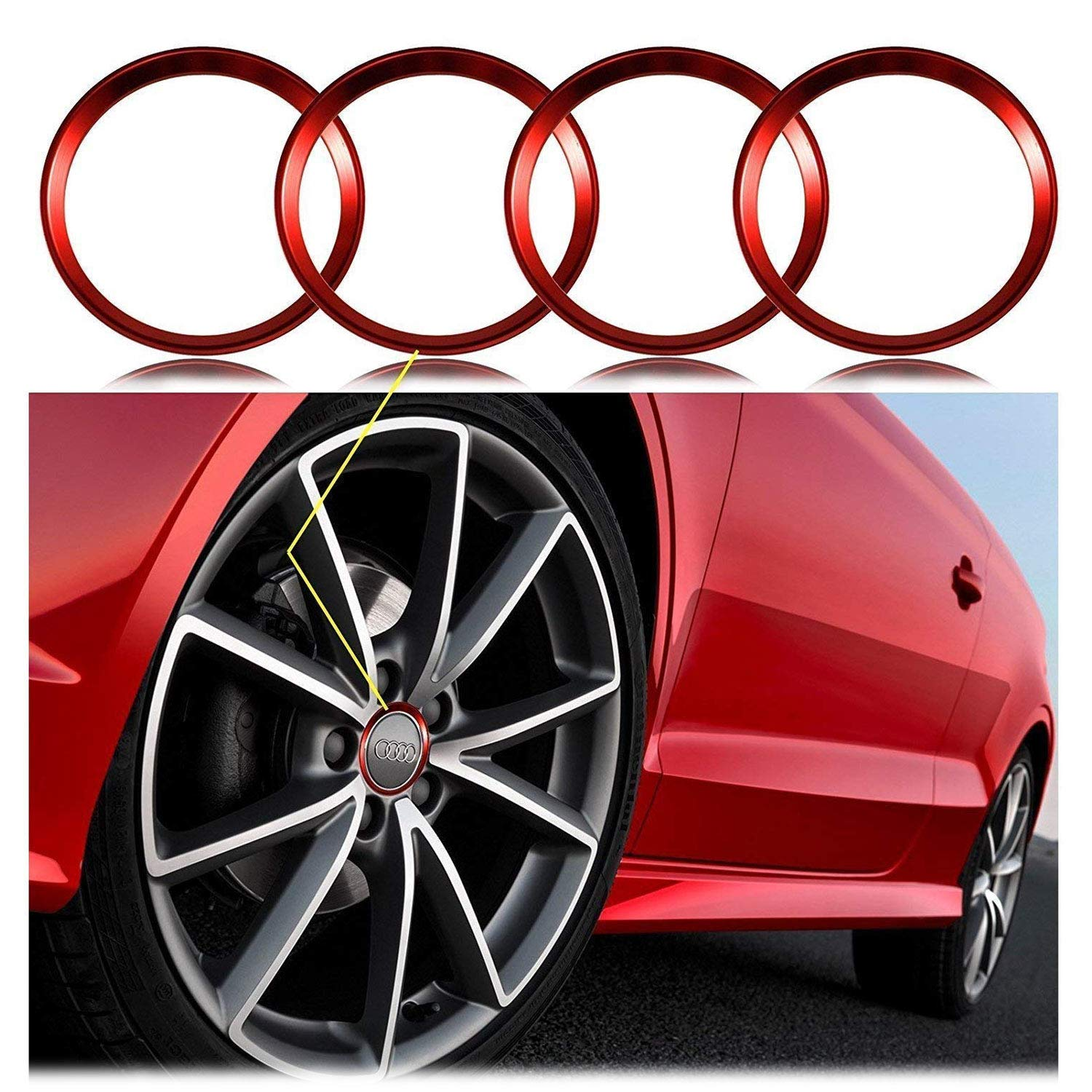 Xotic Tech 4 Pieces Red Alloy Car Wheel Rim Center Cap Hub Rings Decoration for Audi A3 A4 A5 TT Quattro, BMW X1 X3 X5 1 3 5 6 7 Series Xotic Tech Direct