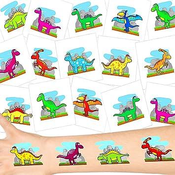 German Trendseller® 36 x tatuajes temporales dinosaurio ┃fiesta dino┃ idea de regalo┃piñata┃cumpleaños de niños┃ 36 unidades…