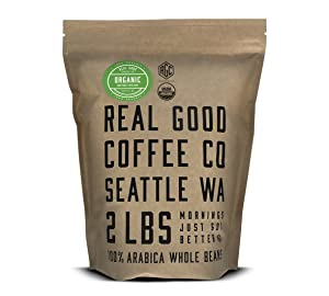 Real Good Coffee Co USDA Certified Organic Dark Roast Whole Bean Coffee, 2 Pound Bag, 100% Organic Arabica Coffee Beans