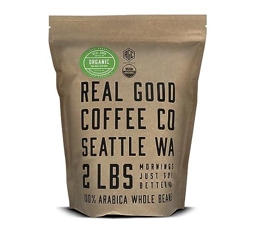Real Good Coffee Co 2LB, Cà phê nguyên hạt, Cà phê rang xay hữu cơ được chứng nhận USDA, 2 túi Pound