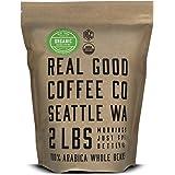 Real Good Coffee Company - Whole Bean Coffee - Organic Dark Roast Coffee Beans - 2 Pound Bag - 100% Whole Arabica Beans - Gri