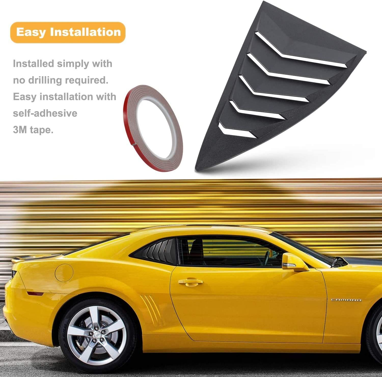 Matte Black Rear and Side Window Louvers Sun Shade Cover in GT Lambo Style for Chevy Chevrolet Camaro 2016-2020