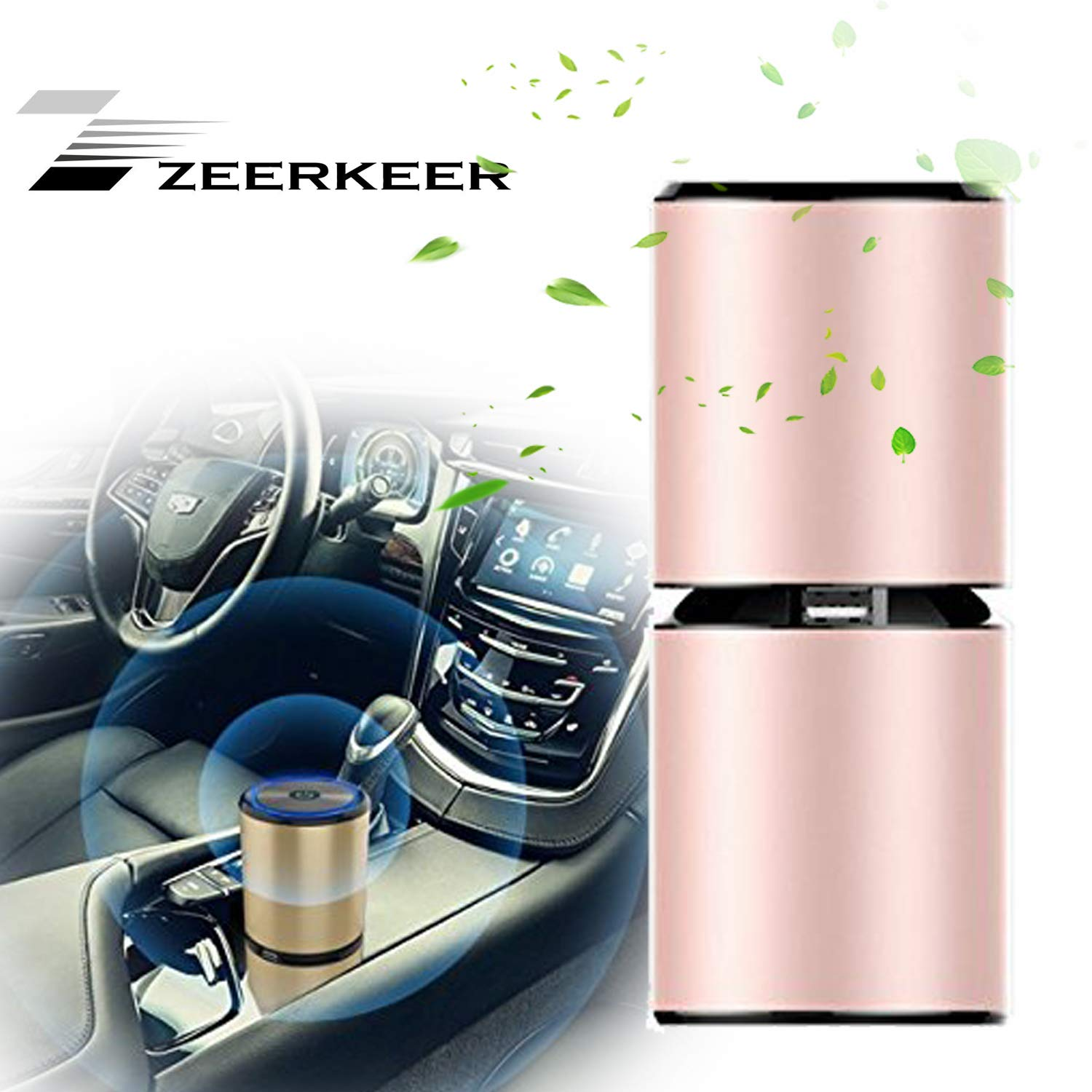 Car Air Purifier Ionizer, ZEERKEER Air Freshener and Odor Eliminator with Dual USB Charging Ports, Remove Cigarette Cigar Wildfire Smoke, Bad Odors, Pets Smells(rose)