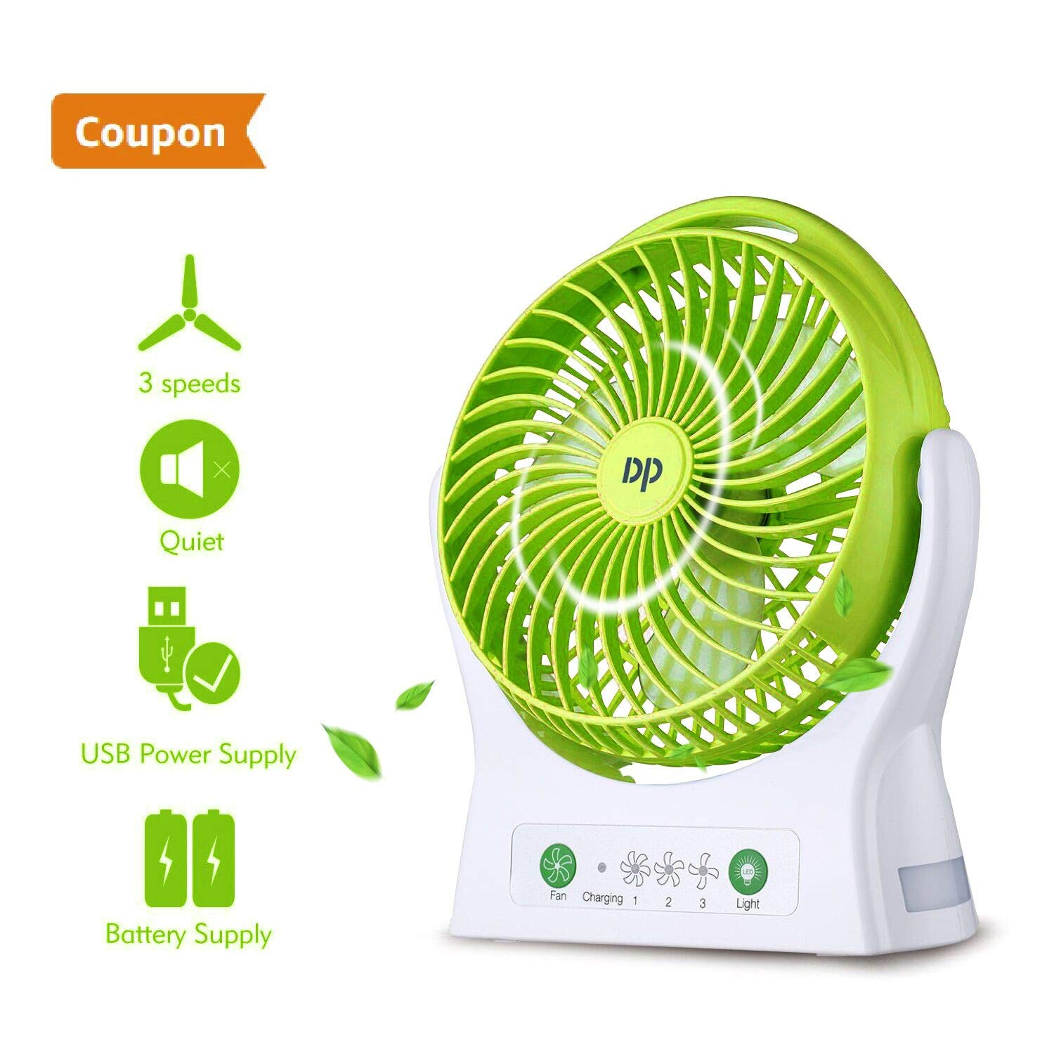 DurationPower Battery Operated Fan Rechargeable Fan Portable USB Powered Rechargeable Battery Operated Personal Desk Fan Strong Airflow Cooling Fan 3 Speeds Travel Home Kitchen Office Outdoor (Green)