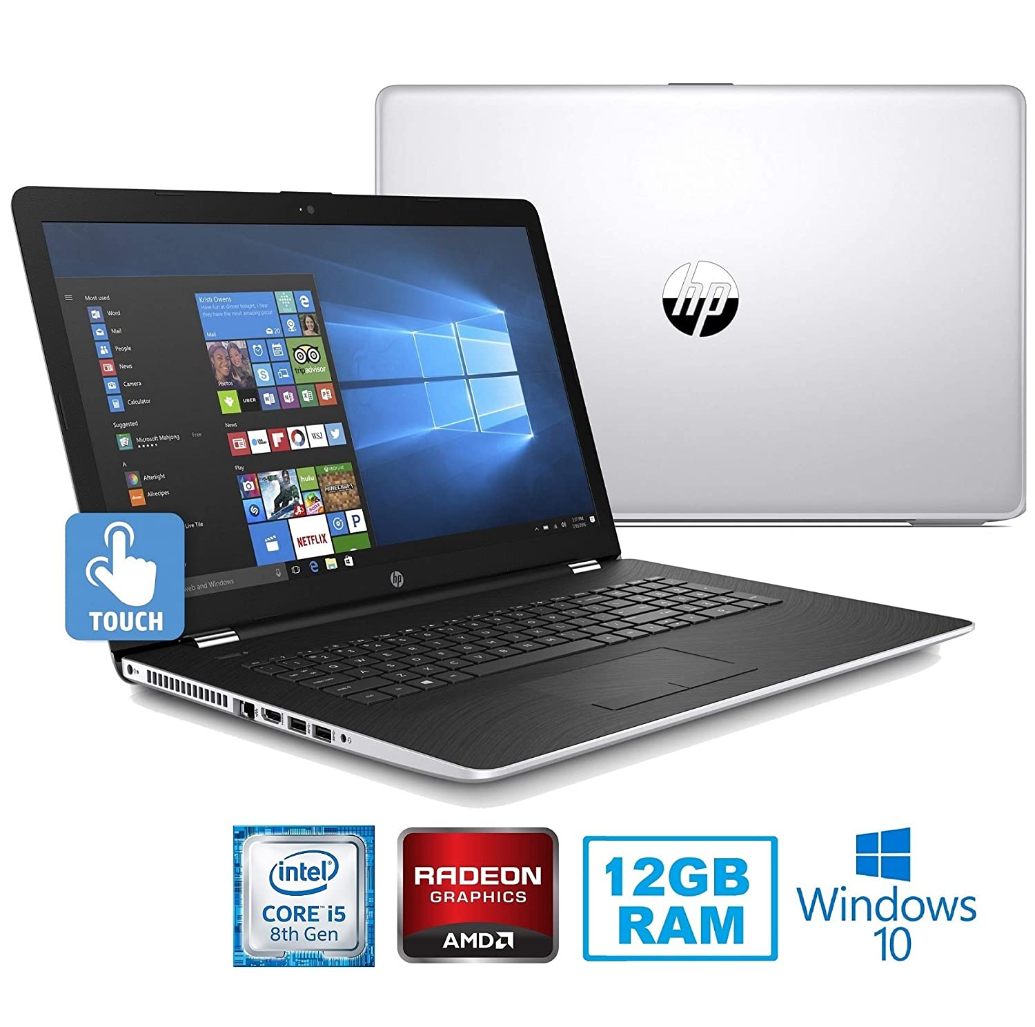 "HP Premium High Performance 17.3"" Touchscreen HD+ SVA (1600 x 900) Laptop~8th Gen Intel i5-8250U~12GB RAM~1TB HDD~Radeon 2GB~Wifi~Backlit~DVD-DW~Bluetooth-Win10(Certified Refurbished)"