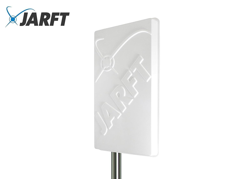 JARFT J1800-17-DOMPA | Leistungsstarke 1800 MHz LTE / 4G Antenne, 17dBi Leistungsgewinn, Wetterfest, inklusive 5m TWIN-Kabel - Richtantenne passend zu Speedport LTE / LTE II / Hybrid, Speedbox LTE / LTE II / LTE III, FritzBox LTE- Router, Huawei B390 / B59