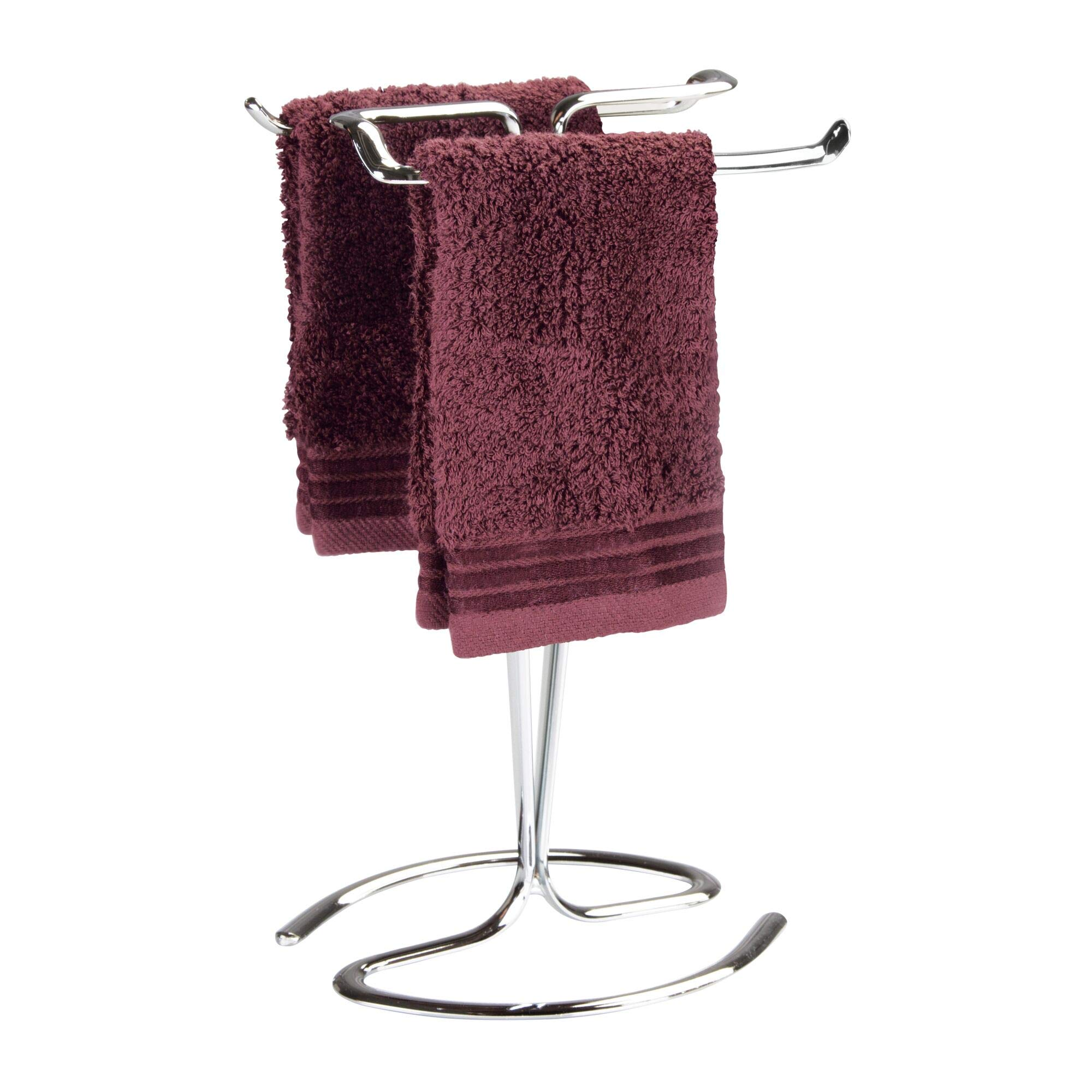 iDesign Axis Metal Hand Towel Holder for Master Bathroom, Vanities, Countertops, Kitchen, Holds 2 Finger Tip Towels, Chrome by iDesign