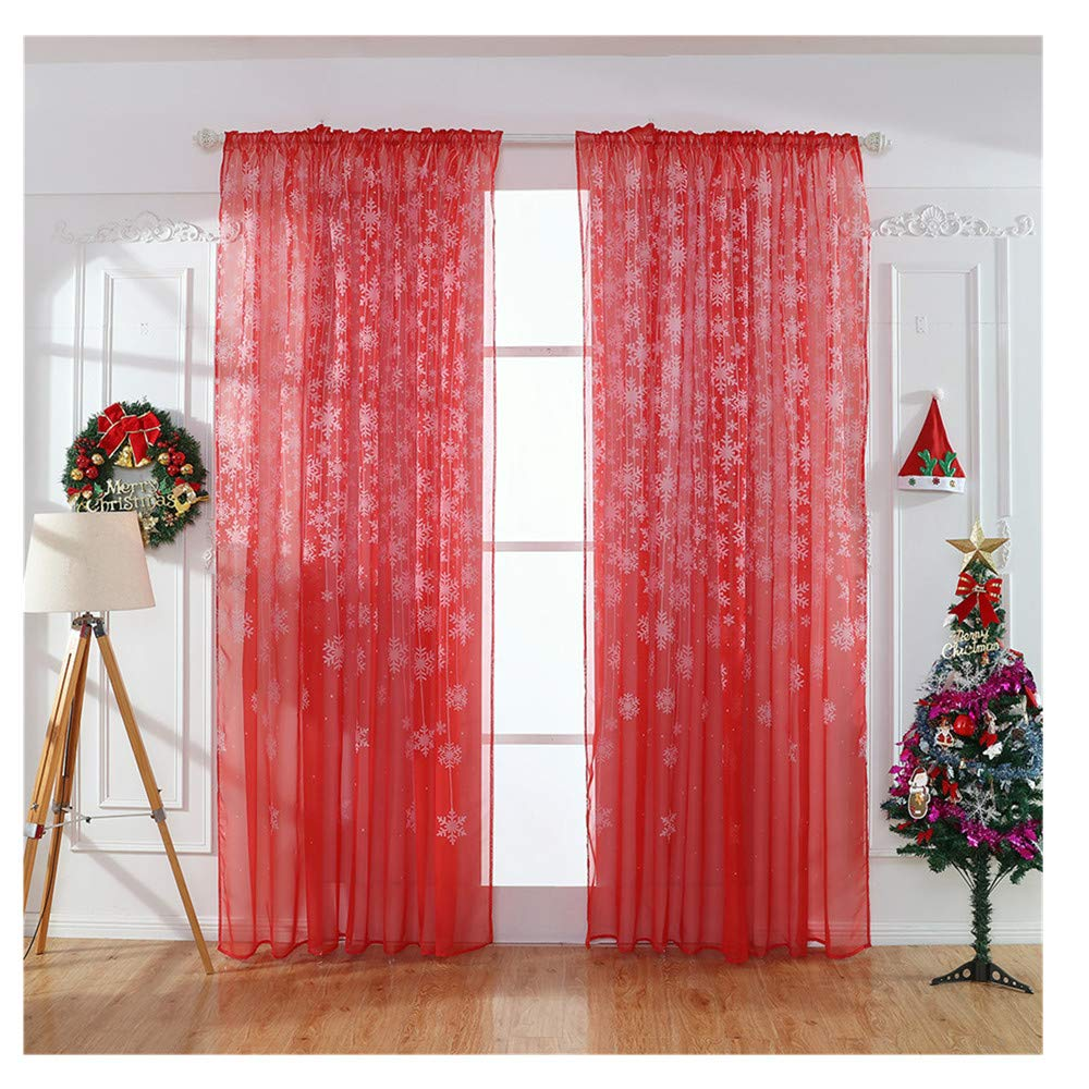 Promisen Christmas Curtains, 1PCS Modern Christmas Window Snowflake Voile Drape Valance Curtains for Dining Room, Living Room, Bedroom (Black)