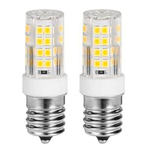 E17 LED Bulb Microwave Oven Light,4W (40W Halogen Bulb Equivalent) 350LM AC110-130V Non-Dimmable E17 Base, Ceramic Body (2 Pack)