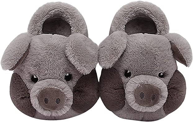 Amazon Com Cute Plush Animal Sippers Boys Girls Warm Pig Slipper Boots Toddler Kids Fuzzy Indoor Bedroom Shoes Slippers