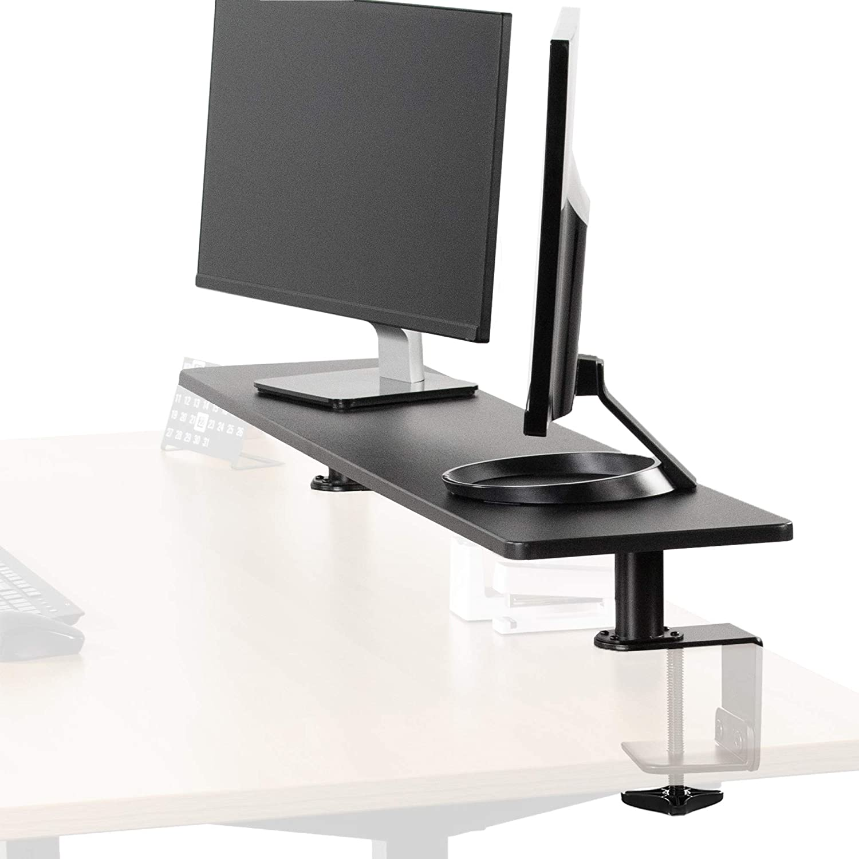 VIVO Black Clamp-on Extra Large 46 inch Ergonomic Desk Shelf | Multi Screen Computer Monitor Laptop Stand Riser Desk Organizer (STAND-SHELF46B)