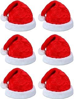 b97567d26b577 Elcoho 6 Pack Santa Red Hat Short Plush with White Cuffs Plush Fabric Christmas  Hat Santa